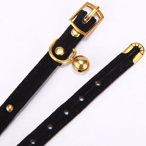 Small Flocked Collar & Brass Rivet Heads with Bell, Quick Release, Adjustable, Various Colors, 1pc