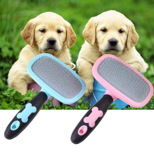 Pet Hair Grooming Slicker Brush, Plastic, Metal, Pink or Blue, 1pc