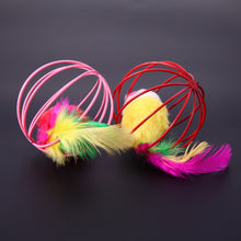 "Load image into Gallery viewer, Cat Toys Ball with Feather & Mouse, approx. 6.2 cm/ 2.44"" dia., 1pc"