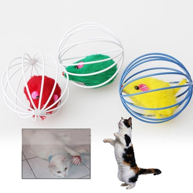 Cat Toys Ball with Feather & Mouse, approx. 6.2 cm/ 2.44