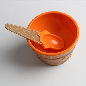 Child's Ice Cream Bowls with Spoons, Multi-Colors
