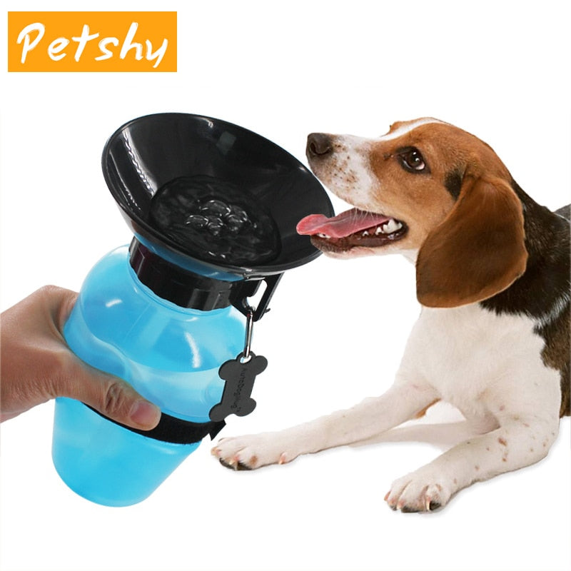 Pet Drinking Water Squeeze Bottle with Cup Dispenser, 3 Colors, 500ml