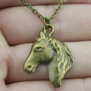 "Handmade Horse Head Necklace Pendant, 22x28mm/0.8"" x 1.1"", Chain Length: 43+4cm/17"", 2 Colors"