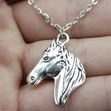 "Load image into Gallery viewer, Handmade Horse Head Necklace Pendant, 22x28mm/0.8"" x 1.1"", Chain Length: 43+4cm/17"", 2 Colors"