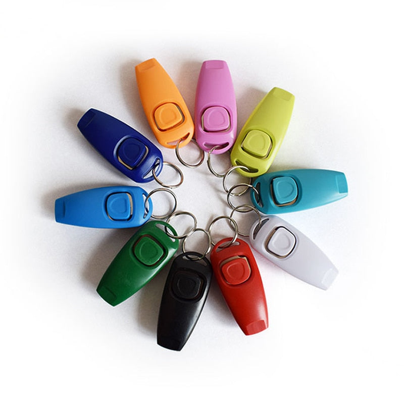 Dog Training Clicker & Whistle with Key Ring, Plastic, Variety of Colors, 1pc