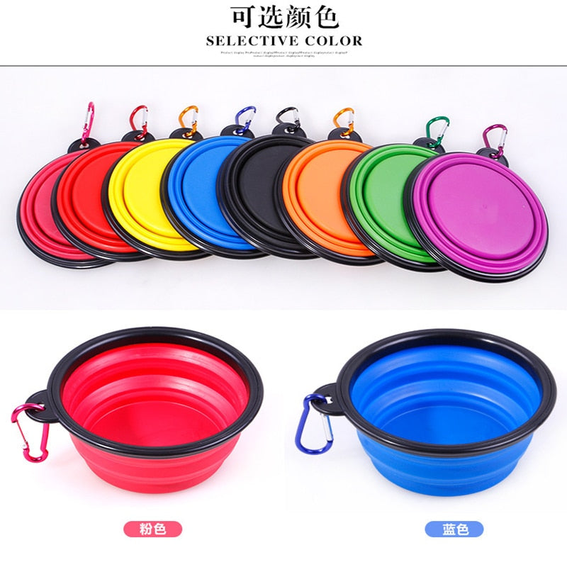 Large Collapsible Folding Silicone Dog Bowl, 1000ml, Various Colors