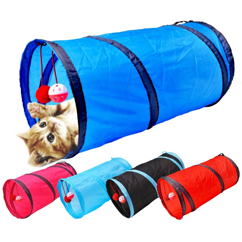 Pet Play Toys, 2 Way, Collapsible Tunnel for Small Animals, Taffeta, Length 50cm/19.65
