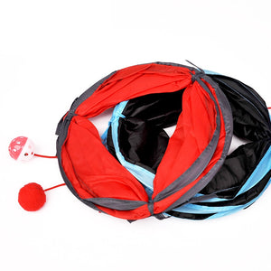 "Pet Play Toys, 2 Way, Collapsible Tunnel for Small Animals, Taffeta, Length 50cm/19.65"" x Diameter 25cm/9.85"""