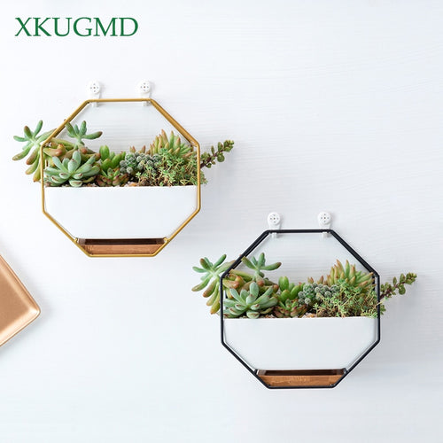 Octagonal Geometric Wall Hanging Ceramic Flower Pot with Bamboo Tray, Iron + Ceramic, M/L, 1pc