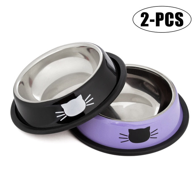 Pet Food & Water Bowl, Stainless Steel, Anti-Skid, Various Colors, 2pc or 3pcs,