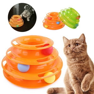 Pet Three Towers of Tracks with Balls, Intelligence, Interactive, Plastic, Green or Orange, 1pc
