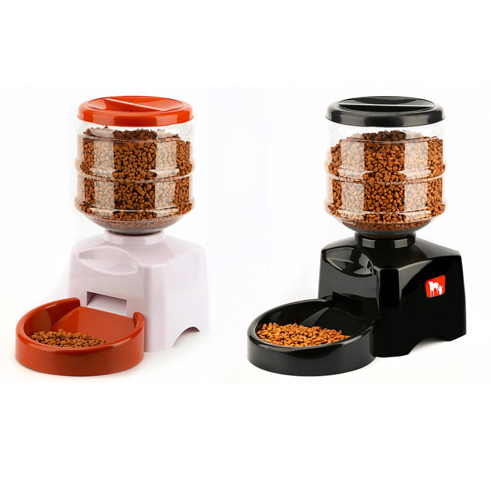Automatic Pet Feeder with Voice Message Recording & LCD Screen, 2 Colors, Fluid 5.5L or Dry 1 to 12 cups, 23x25x41cm/9x10x16