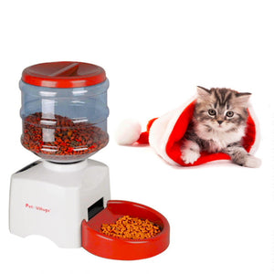 "Automatic Pet Feeder with Voice Message Recording & LCD Screen, 2 Colors, Fluid 5.5L or Dry 1 to 12 cups, 23x25x41cm/9x10x16"", 1pc"