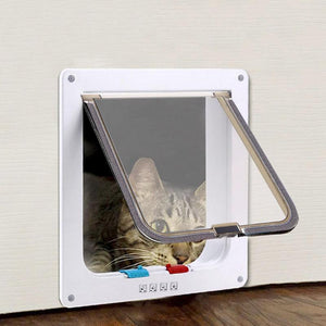 4 Way Lockable Flap Pet Door, ABS Plastic, 3 Colors, S/M/L