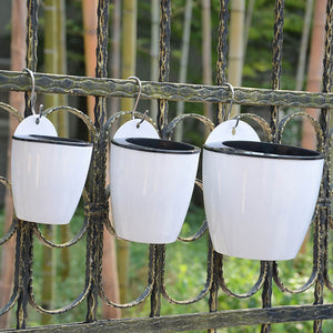 Self Watering Wall Hanging Flower Pot, Resin Plastic, S/M/L, White, 1pc