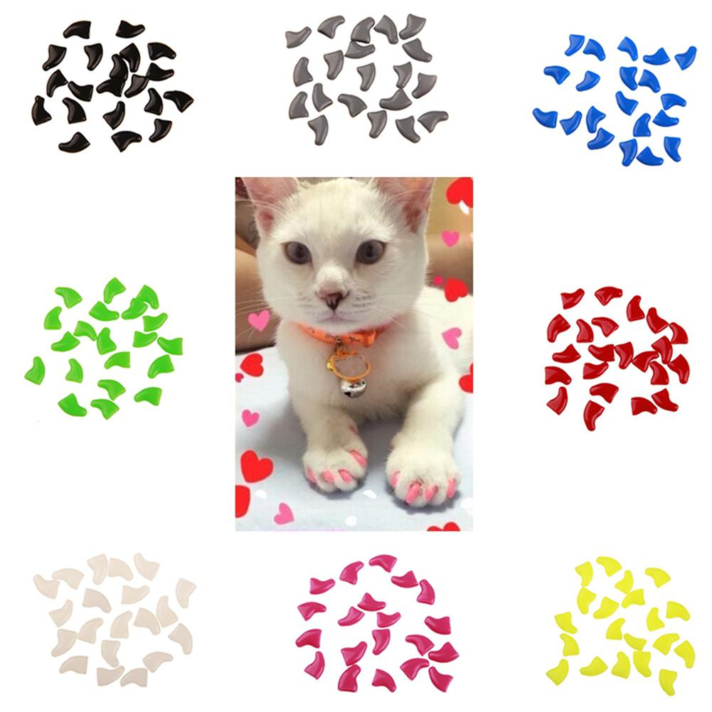 Cat Nail Claw Caps, Protector Cover with Glue, Soft, Plastic, Variety Colors, XS/S/M/L, 20pcs/lot