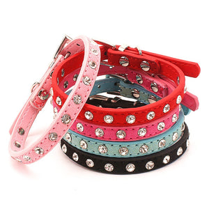 Fancy Rhinestone Necklace Pet Collars,  Quick Release, See size chart, 5 Colors