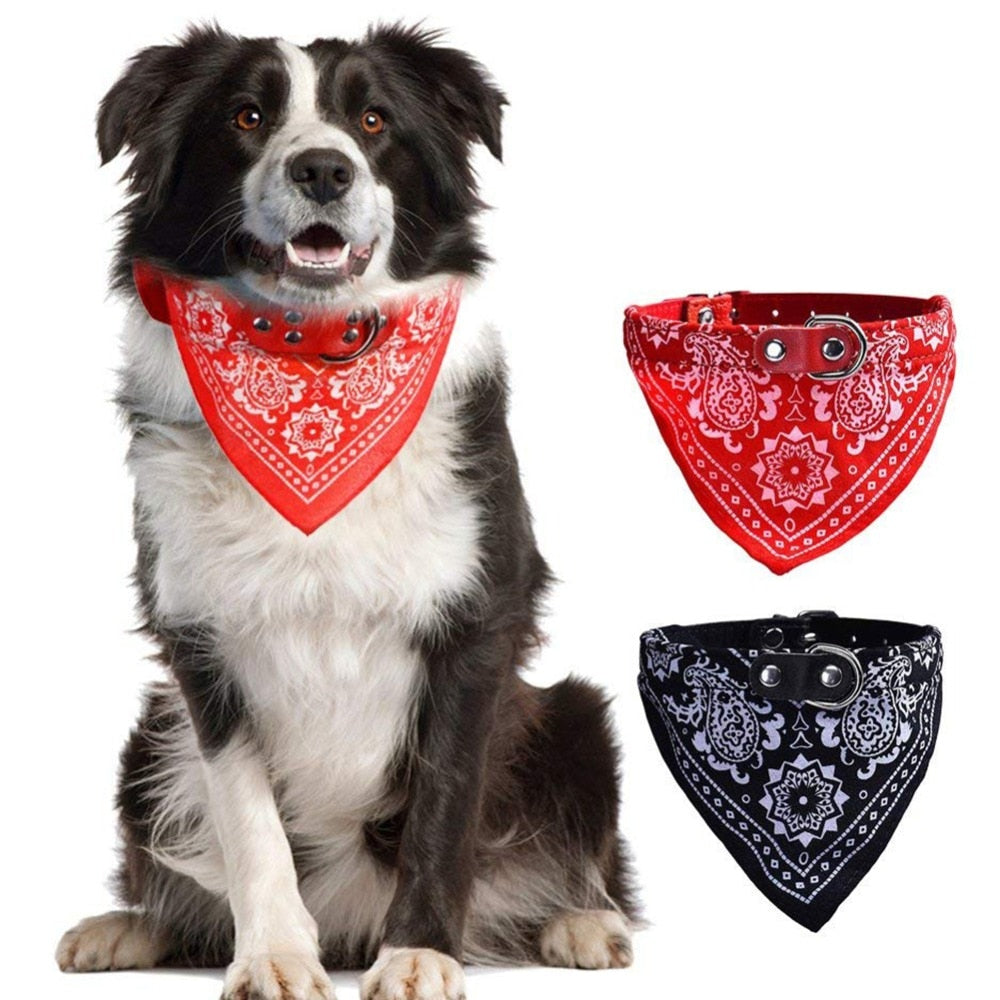 Adjustable Leather Dog Collar with Leash Loop, Cotton Bandanna Neckerchief, Various Sizes, 4 Colors, 1pc