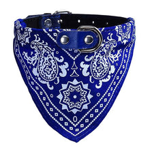 Load image into Gallery viewer, Adjustable Leather Dog Collar with Leash Loop, Cotton Bandanna Neckerchief, Various Sizes, 4 Colors, 1pc