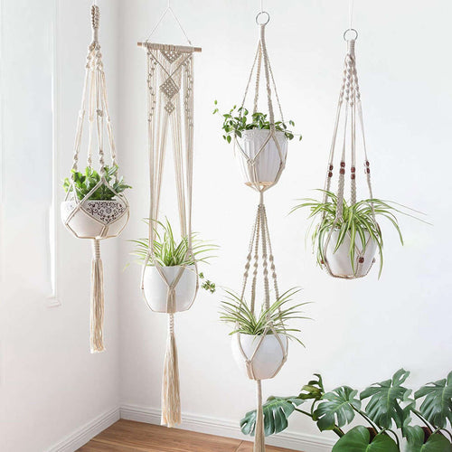 Handmade Indoor Macrame Plant Hanger, Various Lengths, & Designs, 4 Pack of Different Designs/Lot