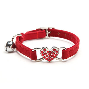Jeweled Heart Charm with Bell Pet Collar,  Adjustable Collar, Safety Elastic with Soft Velvet Material, 5 Colors, 1pc