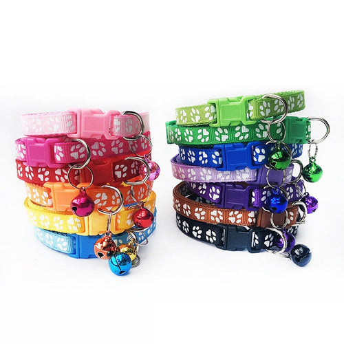 Paw-Print Pet Collar with Bell, Adjustable, Quick Release, Various Colors, 1pc