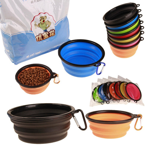 Fordable Silicone Pet Food & Water Bowl, BPA Free, Various Colors, 450ml & 1000ml