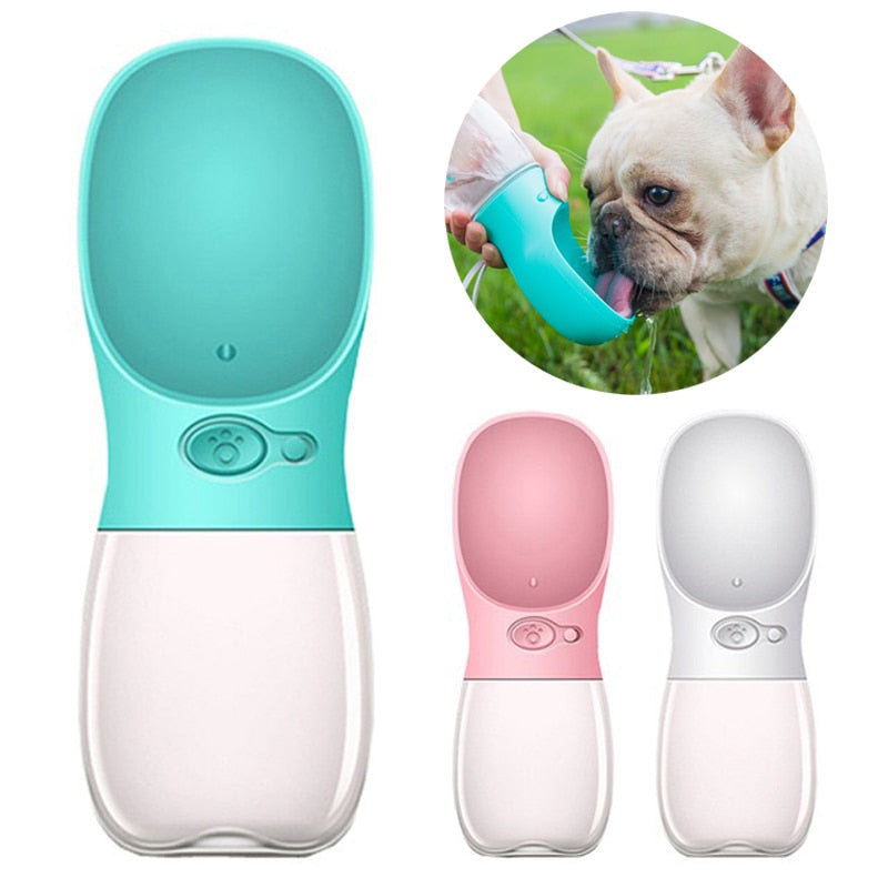 Pet Water Drinking Bottle with Bowl, S: 350ML, M:  480ML, L: 550ML, Various Color