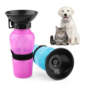 Dog Drinking Water Bottle & Feed Bowl Dispenser, 500ml, Red or Blue