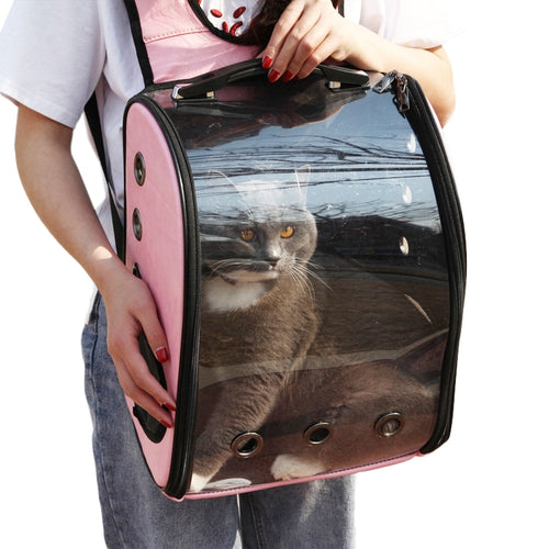 Portable 'Space Capsule' Pet Backpack with Breathable Window, One Size, 4 Colors