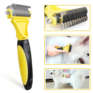 Stainless Double-sided Pet Knot-Removal, Grooming Rake. Pink/Yellow, S/L, 11c