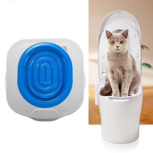 Cat Toilet Training Kit with Litter Tray Mat, Plastic, Blue or Green, 40x40x3.5cm/15.75