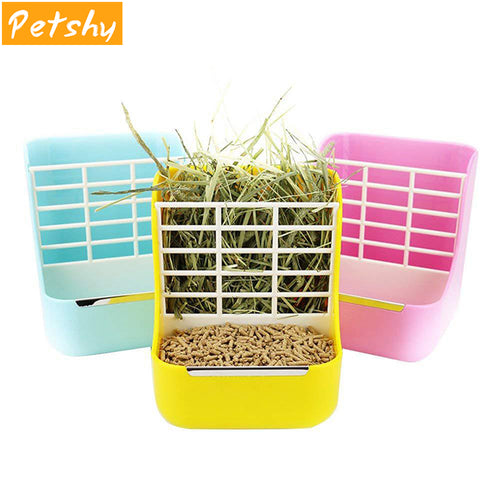 2-in-1 Pet Food Hanging Bowl Feeder with Grass Rack for Small Animals, Multi-Colors