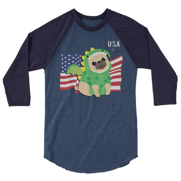 USA Dog -3/4 sleeve raglan shirt - Three Buddies Healthy Dog Treats