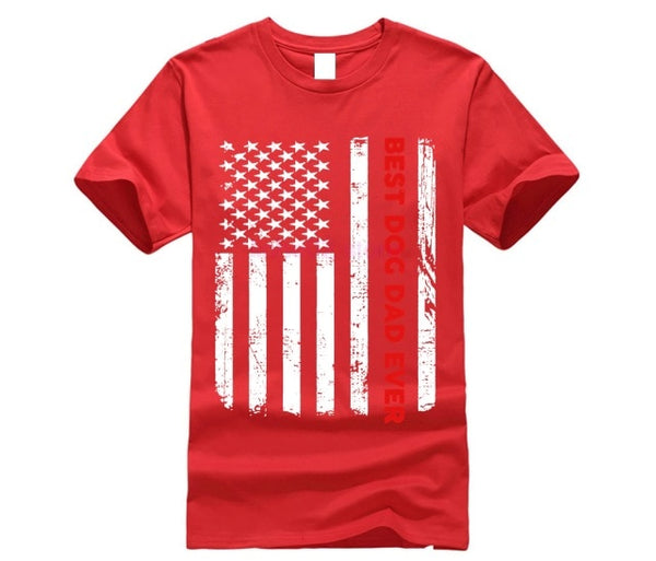 Best Dog Dad Ever American Flag Tshirt - Three Buddies Healthy Dog Treats