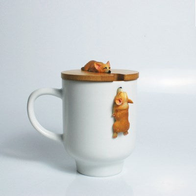 Creative Cartoon 3D Corgi French Bulldog Ceramic Mugs - Three Buddies Healthy Dog Treats