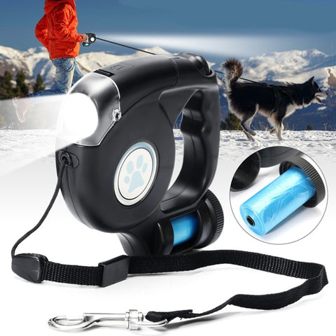 LED Flashlight Extendable Retractable Leash - with garbage bag! - Three Buddies Healthy Dog Treats