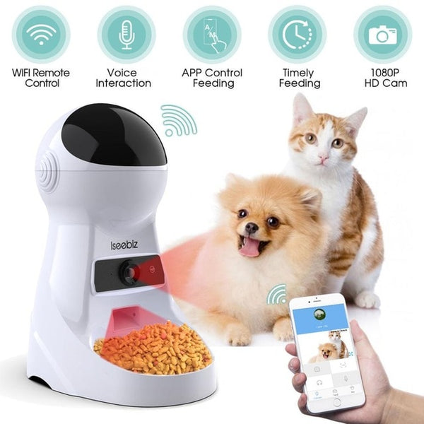 Iseebiz 3L Automatic Pet Feeder With Voice Record - Three Buddies Healthy Dog Treats