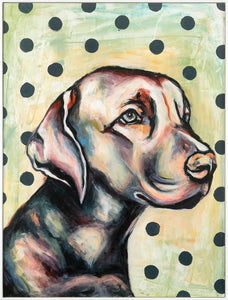 Dogs are a man's best friend and the best type of portrait to hang on your walls. Pets always bring a sense of calm and joy and this little guy also adds some kitsch and playfulness to your space.