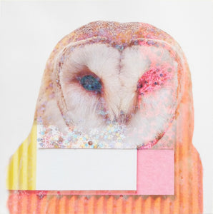 This gorgeous owl is collaged with some beautiful colour, texture and of course sparkles! This adds a touch of humour to any space sparking so much joy!! Owl, Nature, Pop-art, Interior, orange, pink!