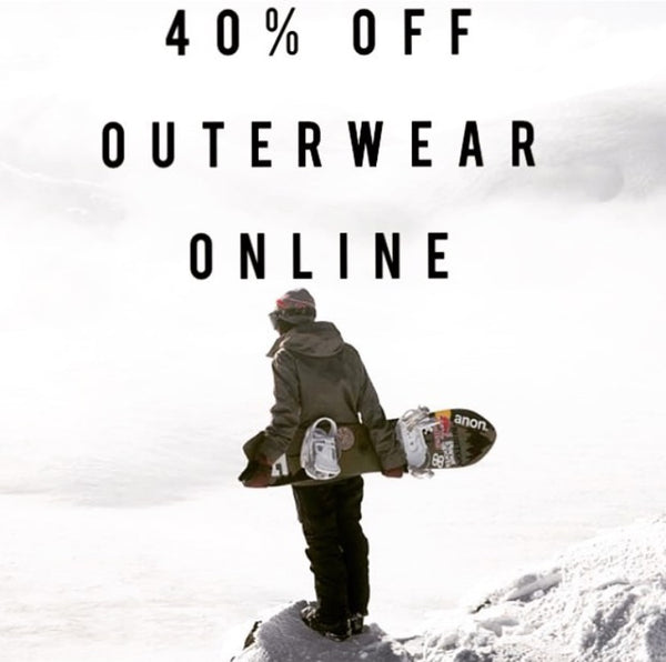 40% off OUTERWEAR SALE ONLINE ( ends October 31st )