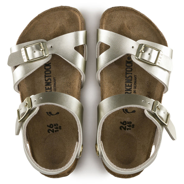 Birkenstock Rio Kids Soft Metallic Gold Birko-Flor Sandals
