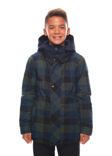 686 Woodlands Jacket Blue Green Plaid Youth Boys