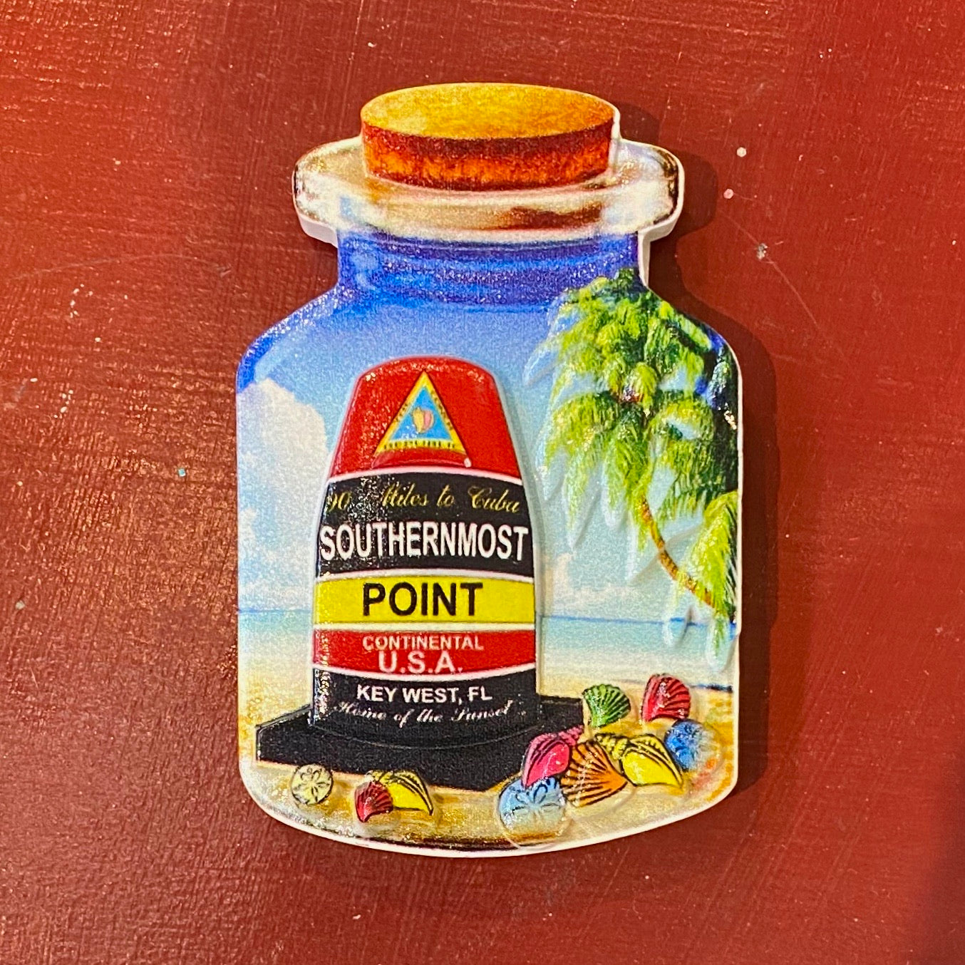 Key West Ceramic Southernmost Point in A Bottle Magnet - Key West Walking Tour