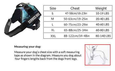 Size Chart for Personalized Dog Harness