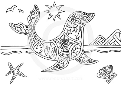 Yoga Kids Colouring Book The Ocean Seal Pose
