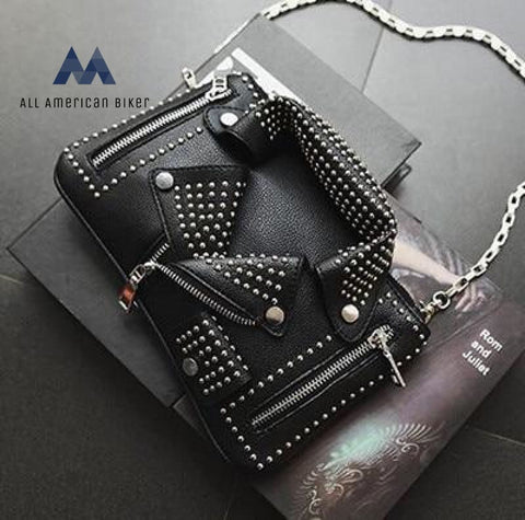 2019 Womens Designer Clutch Rivet Motorcycle Shoulder Bag Black Shoulder Bags