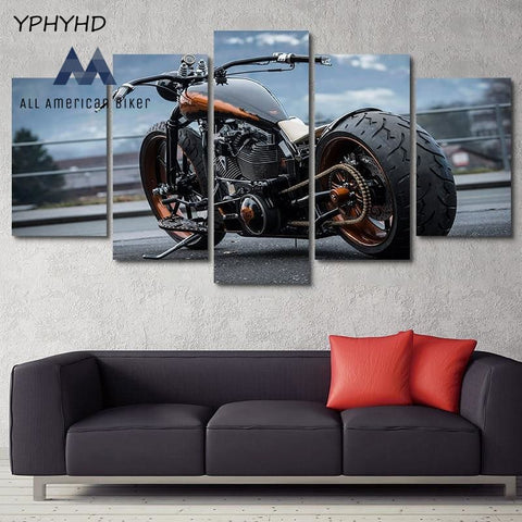 5 Piece Hd Modular Motorcycle Canvas Home Decoration Wall Art Accessories