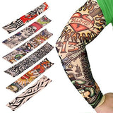 6Pcs Set Arts Fake Temporary Tattoo Arm Sunscreen Sleeves - Akstore Designs Tiger Crown Heart Skull