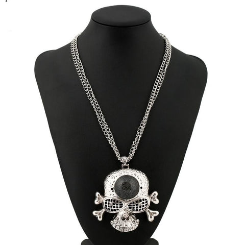 Big Statement Biker Skull Necklace